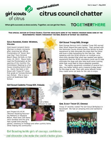 CCC May 2013 Special Edition - Girl Scouts of Citrus Council