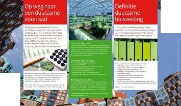 Op weg naar een duurzame voorraad Definitie duurzame huisvesting