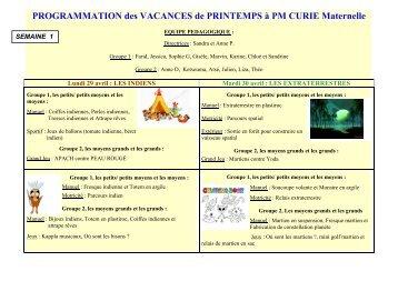 PROGRAMMATION des VACANCES de PRINTEMPS à PM CURIE ...