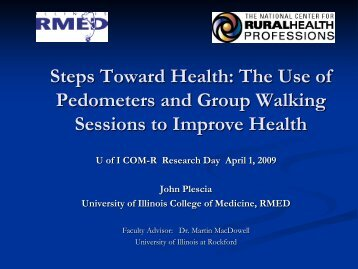 Steps Toward Health: The Use of Pedometers and Group Walking ...