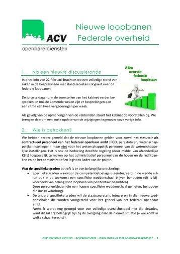 Nieuwe loopbanen Federale overheid - ACV Openbare Diensten
