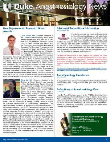 News - Department of Anesthesiology - Duke University