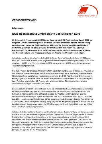 DGB Rechtsschutz GmbH erstritt 386 Millionen Euro