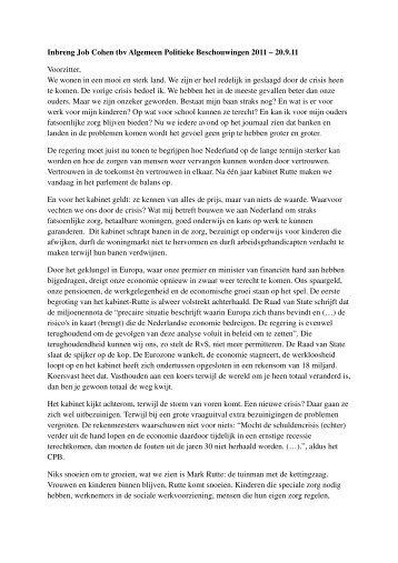 Inbreng Job Cohen tbv Algemeen Politieke Beschouwingen 2011 ...