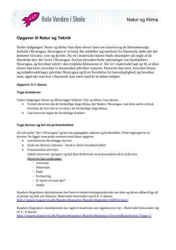 Opgaver til Natur og klima - Hele Verden i Skole