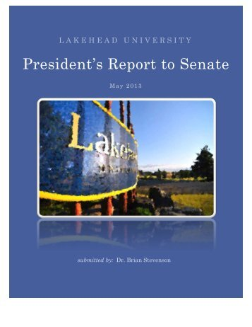President's Report to Senate - Lakehead University