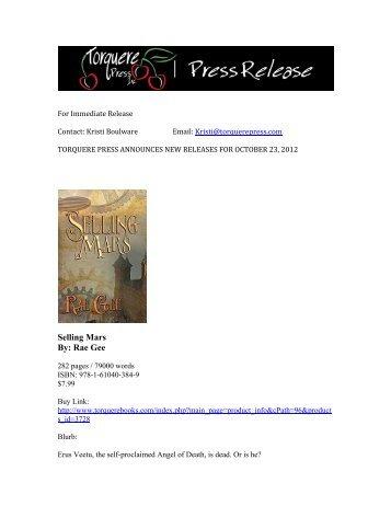 New Releases 10/24/2012 - Torquere Press