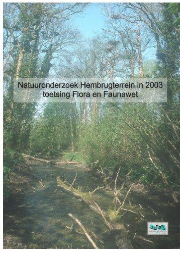 Natuuronderzoek Hembrugterrein 2003 Ecologisch Adviesbureau B ...