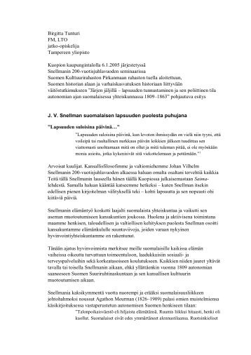 Filosofie magister Tunturi - JV Snellman 200