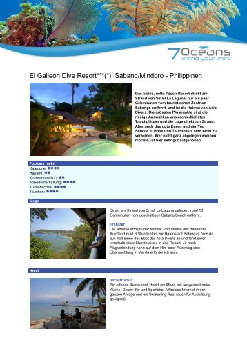El Galleon Diver Resort - Sabang - 7 Oceans