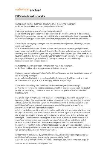 FAQ's beleidsregel vervanging - Nationaal Archief