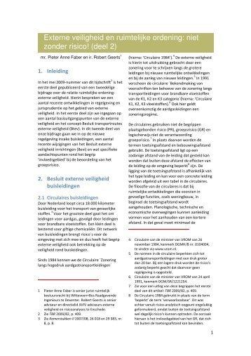 Externe veiligheid en ruimtelijke ordening: niet zonder risico ... - AVIV