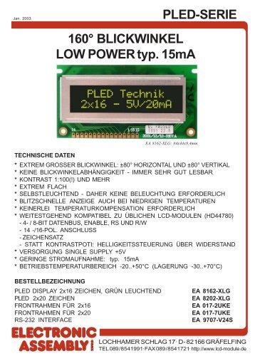 PLED-SERIE 160° BLICKWINKEL LOW POWER typ ... - LCD elementy