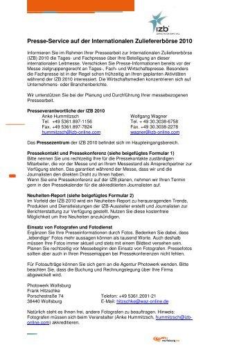 IZB 2010 Presseservice für Aussteller - Wolfsburg AG