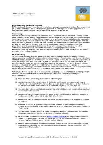 Privacy beleid (PDF) - Van der Laan & Company