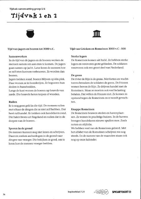 Tijdvak-samenvatting groep 5/6 - OBS De Kleine Wereld