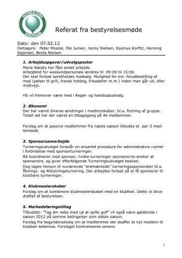 Referat fra bestyrelsesmøde - Norddjurs Golfklub