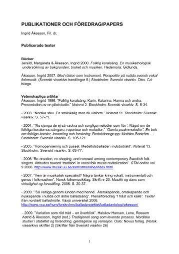 PUBLIKATIONER OCH FÖREDRAG/PAPERS - Institutionen för ...