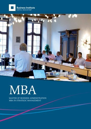 MAster of Business AdMinistrAtion MBA in strAtegic MAnAgeMent