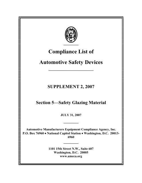 Compliance List of Automotive Safety Devices - AMECA