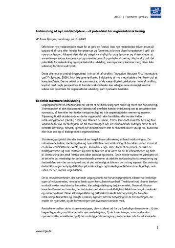 Indslusning af nye medarbejdere - Konsulentfirmaet ARGO