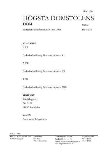 2011-06-16 B 5412-10 Dom särskilt tillägg - Högsta domstolen