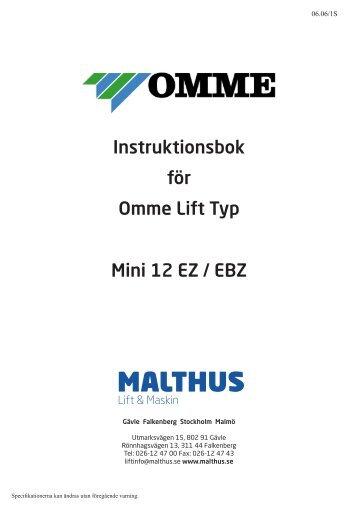 Instruktionsbok för Omme Lift Typ Mini 12 EZ / EBZ - Brubakken