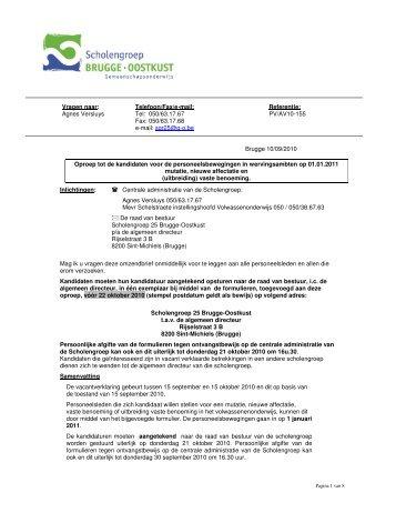 Omzendbrief - Scholengroep Brugge-Oostkust