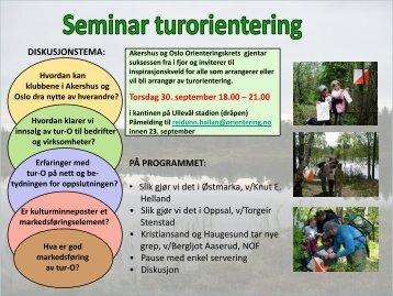 Invitasjon til tur-o seminar - Akershus og Oslo orienteringskrets