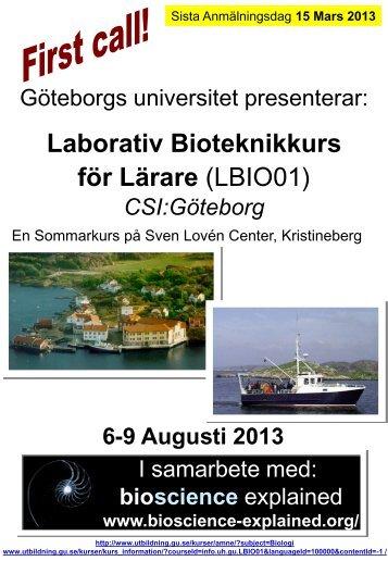 "Laborativ Bioteknikkurs för Lärare ""CSI Göteborg"""