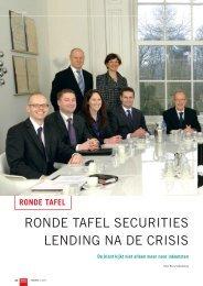 RONDE TAFEL SECURITIES LENDING NA DE CRISIS - SecValeur