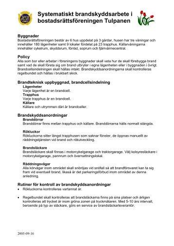 Systematiskt Brandskyddsarbete Brf Tulpanen