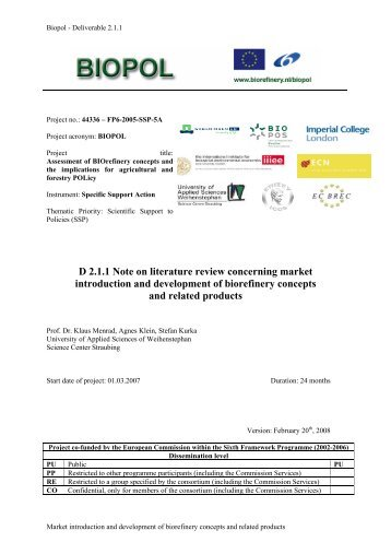 D 2.1.1 Note on literature review concerning market ... - Biorefinery