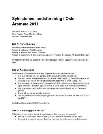 Referat fra årsmøtet - Syklistenes Landsforening