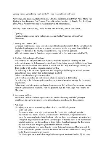 Verslag van de vergadering van 6 april 2011 van wijkplatform Elst ...