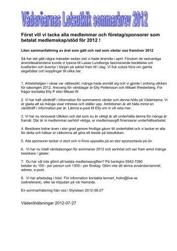 Sommarbrev från styrelsen - Föreningen Väderöarnas lotsutkik