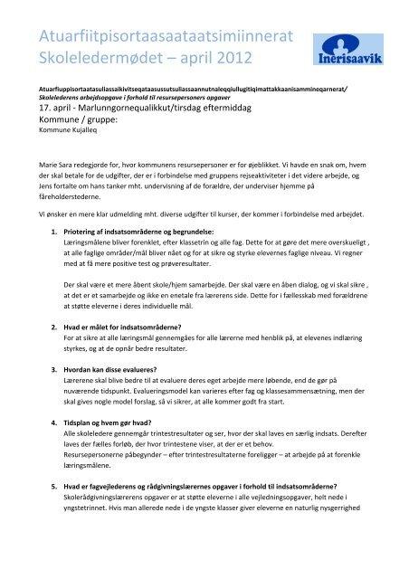 Referat fra Kommune Kujalleq - Inerisaavik