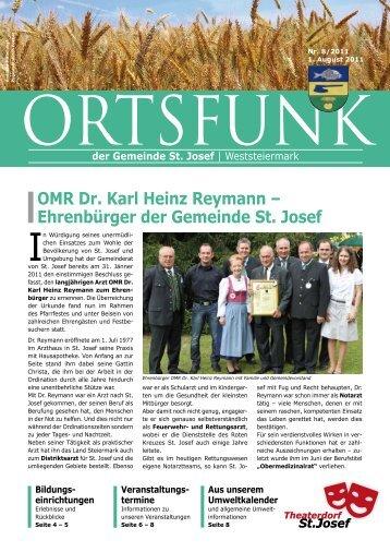 OMR Dr. Karl Heinz Reymann – Ehrenbürger der Gemeinde St. Josef