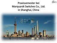 Praxissemester bei Marquardt Switches Co., Ltd. in Shanghai, China