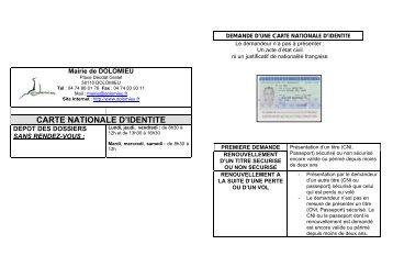 Pièces à fournir pour une carte Nationale d'Identité - Dolomieu