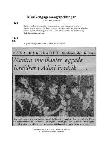 Musikengagemang/spelningar - Sahlberg