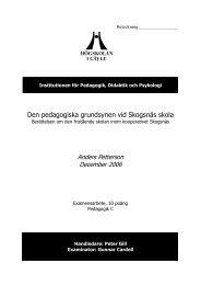 Den pedagogiska grundsynen vid Skogsnäs skola - Rock Art Forum