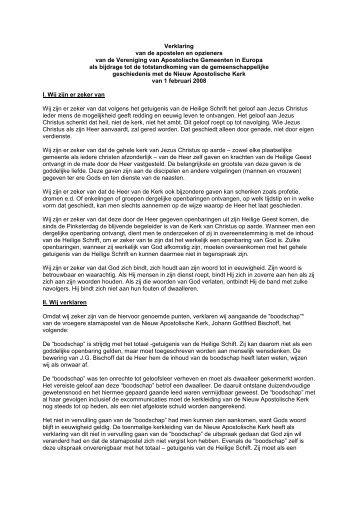Verklaring van de apostelen en opzieners van de Vereniging van ...