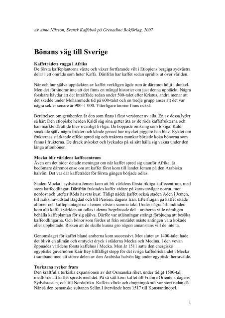 Bönans väg till Sverige - Anne Nilsson
