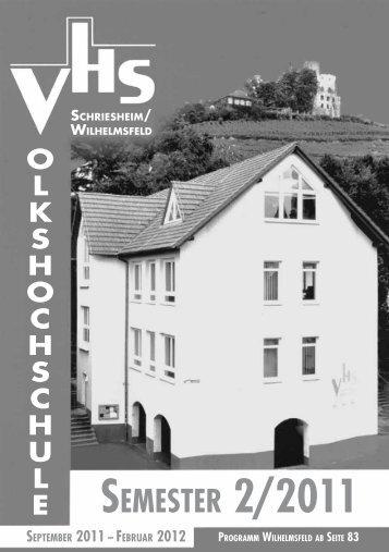 SONDERVERANSTALTUNGEN - VHS Schriesheim