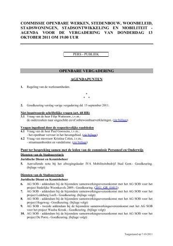 commissie openbare werken, stedenbouw, woonbeleid ...