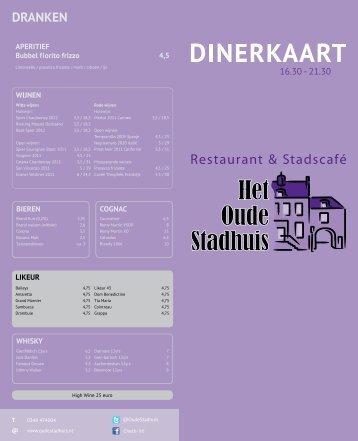 Dinerkaart - Het Oude Stadhuis