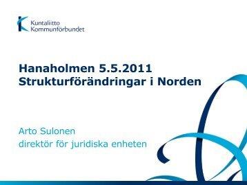 Hanaholmen 5.5.2011 Strukturförändringar i ... - Kommunerna.net