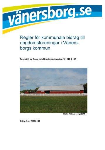 Regler för kommunala bidrag till ungdomsföreningar - Vänersborgs ...