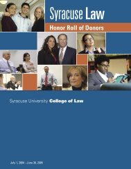 Honor Roll of Donors - Syracuse University College of Law